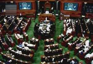 New Delhi: A view of the Lok Sabha assembly on the last day of the Parliament wi...