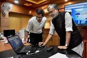 Patna: Bihar's Deputy Chief Minister Sushil Kumar Modi at the launch of the stat...