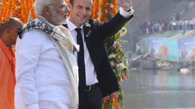 PM Modi, French President Emmanuel Macron take Varanasi boat ride