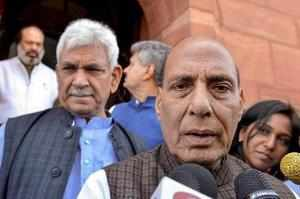 New Delhi: Home Minister Rajnath Singh addresses the media at Parliament during ...