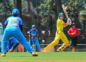Mumbai: Captain of Australia women's team Meg Lanning plays a shot during a warm...