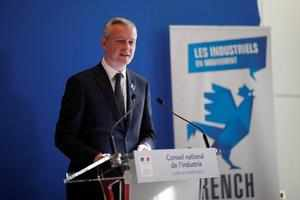 French Finance Minister Bruno Le Maire speaks during a news conference after a National Council of Industry at the Bercy Finance Ministry in Paris