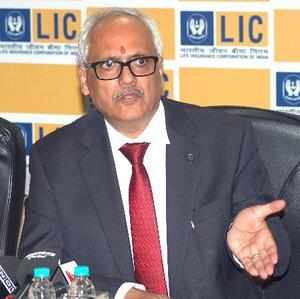 Mumbai: LIC Chairman V K Sharma speaks during a press conference in Mumbai on Fr...