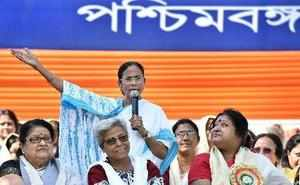 Kolkata: West Bengal Chief Minister Mamata Banerjee addresses a rally organised ...