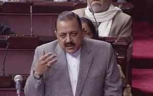 New Delhi: Minister of State, PMO, Jitendra Singh speaks in the Rajya Sabha in N...