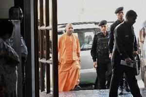 Lucknow: Uttar Pradesh Chief Minister Yogi Adityanath arrives for a cabinet meet...