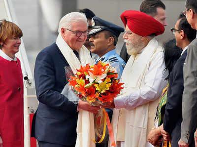 German President Frank-Walter Steinmeier arrives in Delhi for five-day visit