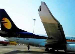 New Delhi: A damaged wing of a Jet Airways flight which met with an accident wit...