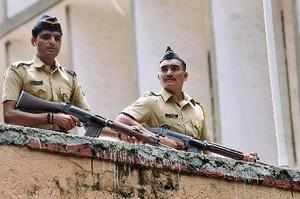Mumbai: Tight security police outside the special court during the proceedings f...