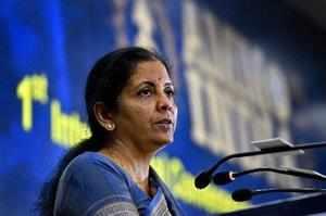 New Delhi: Defence Minister Nirmala Sitharaman addresses the 1st International ...