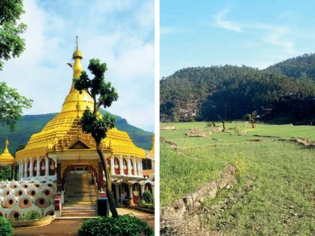 On the left, is the vipassana centre in Igatpuri and on the right, is the green backdrop of Ranikhet.