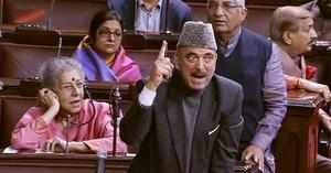New Delhi: Congress member Ghulam Nabi Azad speaks in the Rajya Sabha in New Del...