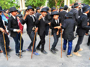 Charlie Chaplin fans parade through Gujarat