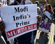 PM Modi greeted by angry protests in London