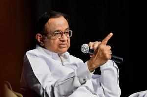 Bengaluru: Former Finance Minister P Chidambaram speaks during his book launch ...