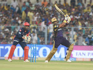 Knight Riders Cricketer Robin Utha Plays A Shot During The 2018 Indian Premier League Ipl Twenty20 Cricket Match Between Kolkata And