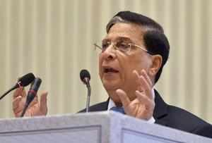 New Delhi: Chief Justice of India Justice Dipak Misra speaks during the valedict...