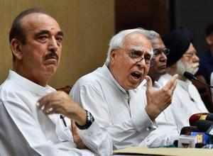 New Delhi: Congress leader Kapil Sibal addresses a press conference after opposi...