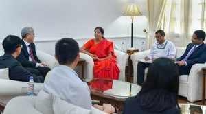New Delhi: Union Defence Minister Nirmala Sitaraman meets Singapore's Permanent ...