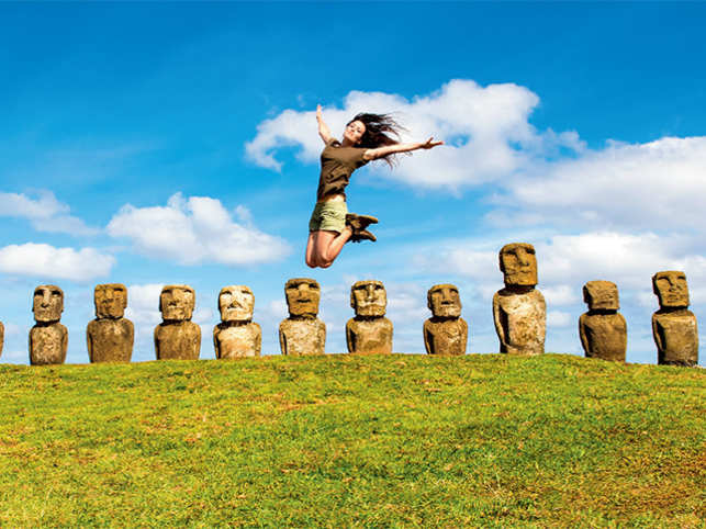 EASTER ISLAND: The archeological site of Rapa Nui is famous for its Moai figures of human body with oversized heads.