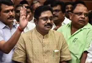 Chennai: AIADMK leader TTV Dhinakaran and his supporters during the swearing-in ...