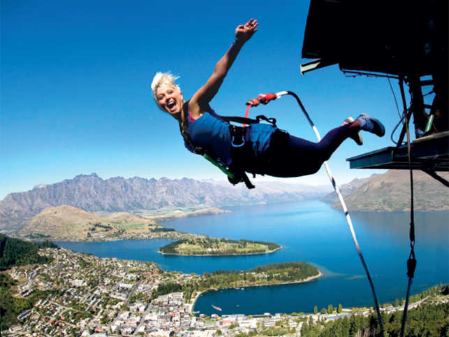 LEAP OF FAITH: Twist and turn your way down as you lunge down the scenic backdrop of Lake Wakatipu, Queenstown