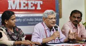Hyderabad: CPI(M) General Secretary Sitaram Yechury addresses the media persons ...