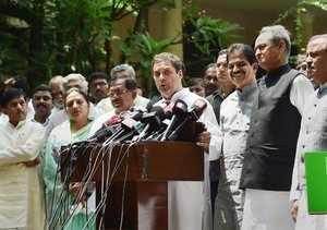 Bengaluru: Congress President Rahul Gandhi addresses the media in Bengaluru on T...