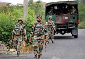 Jammu: Army personnel during a search operation after a group of suspected terro...