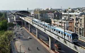 Hyderabad: Newly launched Hyderabad metro rail runs on an elevated railway line ...