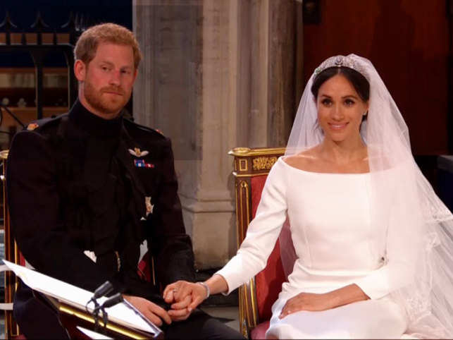 It's official! The new royal couple exchanged their vows at a royal ceremony at Windsor Castle, near London, in England. They were seen blushing and making eye contact while the ceremony was in process.   Here's how a quick look: