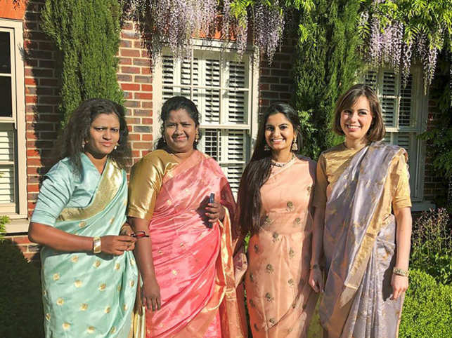 Epitome of Indian beauty: Myna Mahila Foundation's members wear saree to the royal wedding