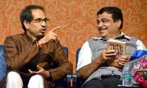 Mumbai: BJP leader and Union Minister Nitin Gadkari and Shiv Sena Chief Uddhav T...