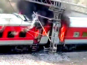 Andhra Pradesh AC Superfast Express catches fire in Birlanagar near Gwalior