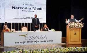Mussoorie: Prime Minister Narendra Modi addressing the Officer Trainees of the 9...