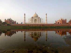 Pollution turns India's white marble Taj Mahal green