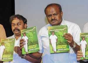 Bengaluru: Janata Dal (Secular) President H D Kumaraswamy with party leaders rel...