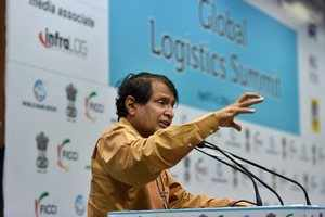 New Delhi: Minister of Commerce and Industry Suresh Prabhu addresses a gathering...