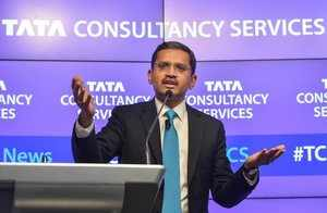 Mumbai: TCS CEO & MD Rajesh Gopinathan speaks during a press conference to annou...