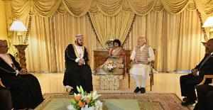 Muscat: Prime Minister Narendra Modi with Deputy Prime Minister of Oman, Sayyid ...