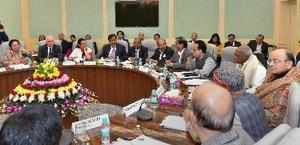 New Delhi: Finance Minister Arun Jaitley during a pre-budget meeting with banker...