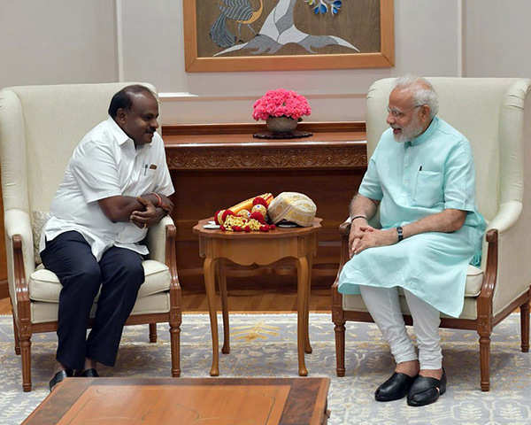Watch: Karnataka CM Kumaraswamy pays a courtesy visit to PM Modi