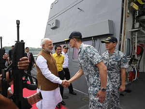 Watch: PM Modi boards INS Satpura at Changi Naval Base in Singapore