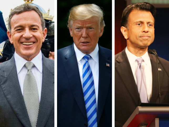 From left: Robert Iger, Donald Trump, Bobby Jindal.