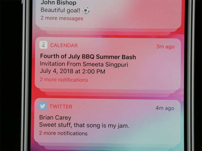 """Apple is taking a huge step to fix its messy notifications situation, so you'll be able to interact with or dismiss multiple notifications from the same app at once. Grouped notifications show up in a stack to give you a sense of how many are waiting for you. """"Quiet"""" notifications will show up in Notification Center, but not on your lock screen. They also won't make sounds or interrupt you in any way."""