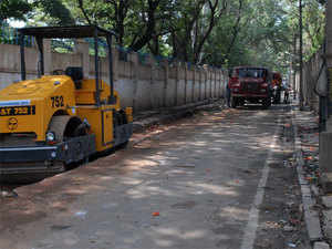 bengaluru municipal body shades of grey visible in white topping