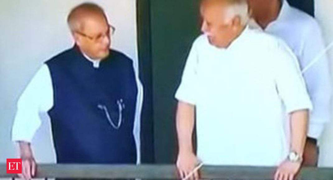 Watch: Former President Pranab Mukherjee arrives at RSS founder's house
