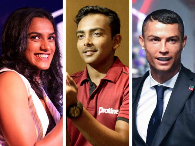 (L-R) PV Sindhu, Prithvi Shaw and Cristiano Ronaldo
