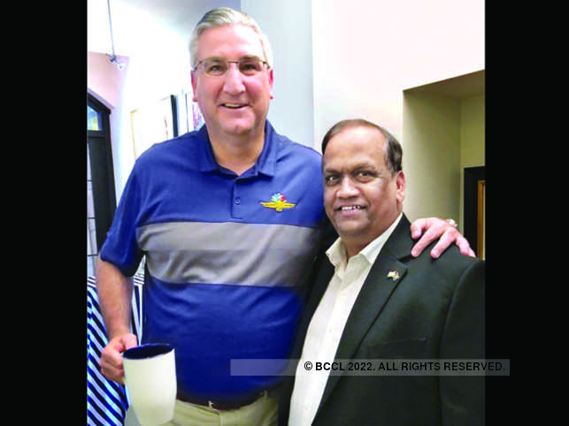 Axis Cades vice chairman Sudhakar Gande with Indiana governor Eric J Holcomb