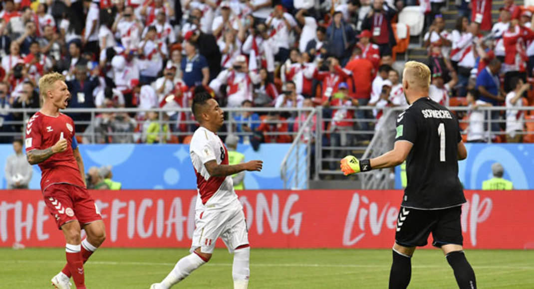 Cueva misses penalty, Peru and Denmark scoreless at break